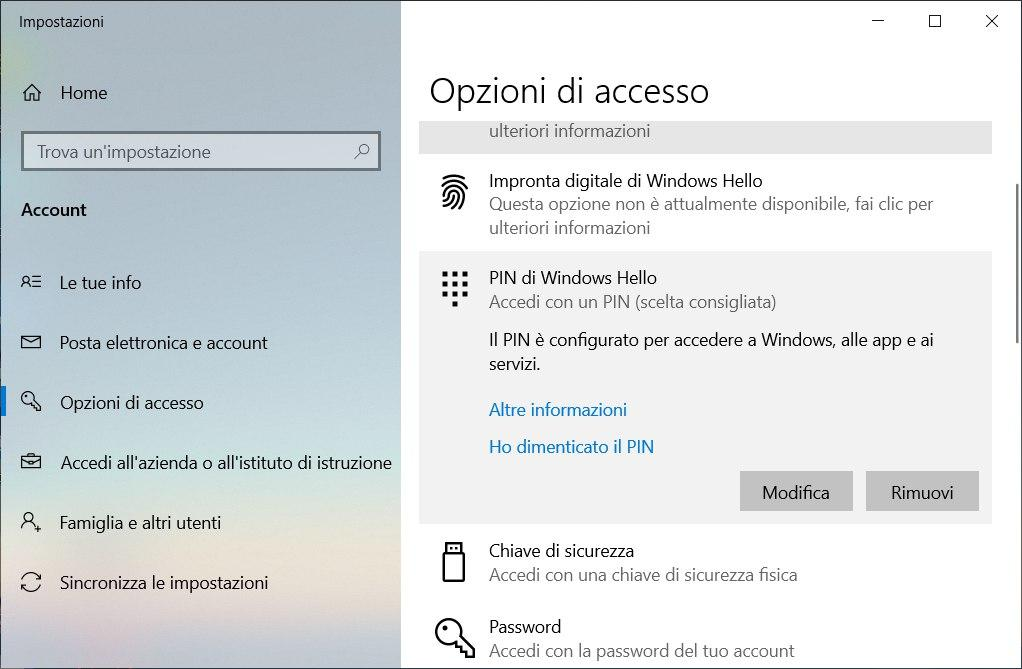 rimuovere il pin su windows 10 pulsanti