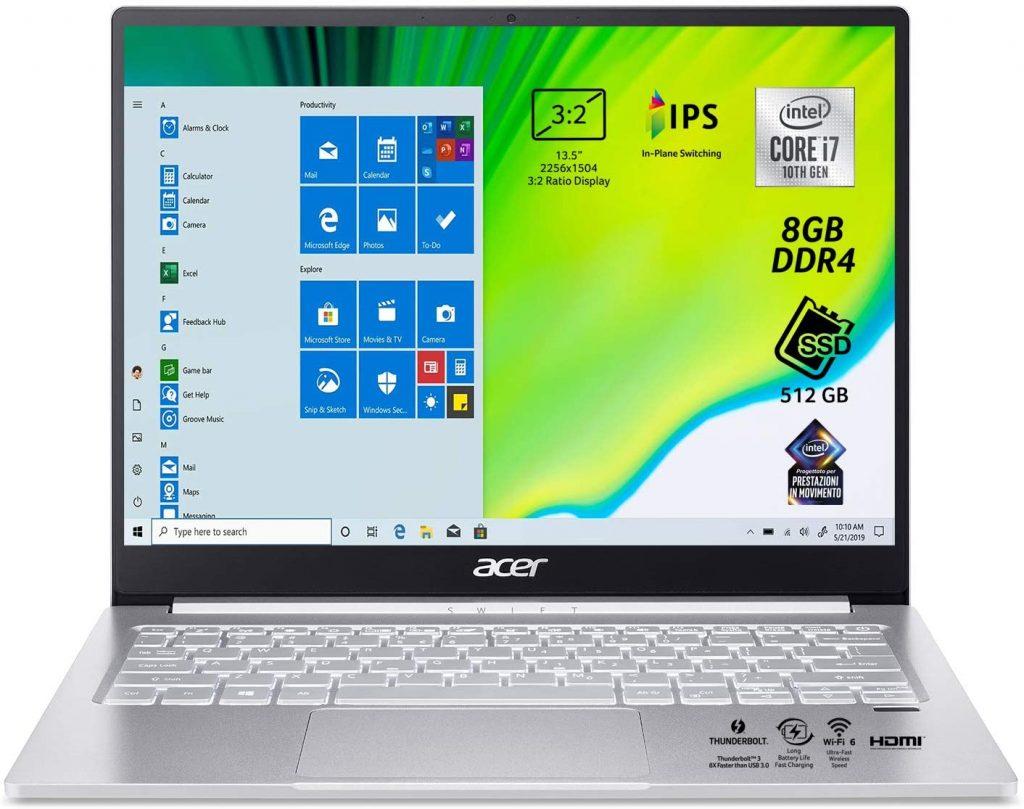 migliori notebook per lo studio -Acer Swift 3 SF313